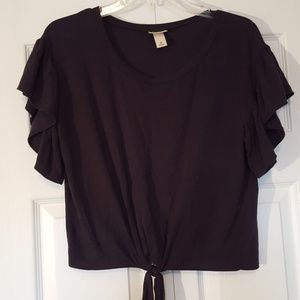 Mossimo cropped tie front tee, size medium